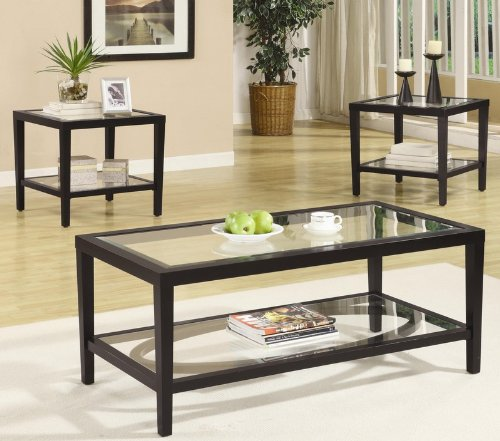 Buy Low Price 3pc Coffee Table And End Tables Set With