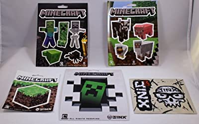 Official Licensed Minecraft Jinx Sticker Party Pack- 5 Sheets 17 Stickers from Jinx