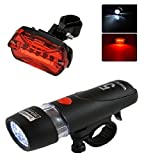 #3: AlexVyan Power beam - Black Bicycle Safety Warning Light Set, Head And Tail Led Cycle Lights (5 LED Bulb each in Head/Tail Light)