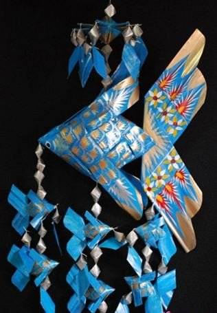 Handmade Medium Fish Festoon Mobile With 6 Babies (Blue), Product Of Thailand + Free Shipping Worldwide front-511004