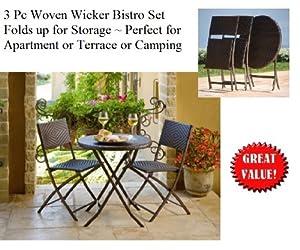 folding outdoor woven wicker 3 pc bistro set