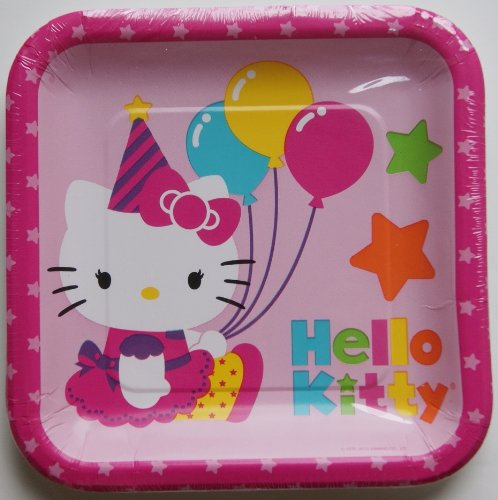 "Hello Kitty Disposable Plates 9"" x 9"""