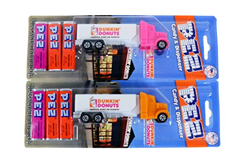 2-pez-candy-dispenser-truck-dunkin-donuts-limited-edition-toy-candy-mini-truck