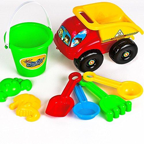 set-de-jouets-enfants-pour-plage-bac-a-sable-8-pieces-camion-pelle-seau-rateau