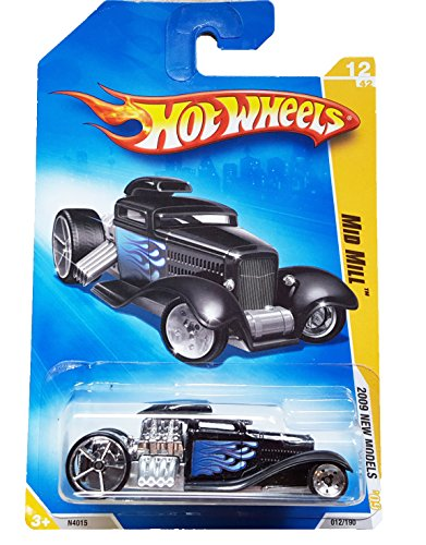 Hot Wheels 2009 New Models Mid Mill #12 BLACK w/ Flames - 1