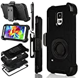 Galaxy S5 Case, S5 Case, Seaplays Shockproof Hybrid Rugged Samsung Galaxy S5 Case Rubber Three Layer Holster Cover Case for Samsung Galaxy S5 with Built-in Rotating Stand and Belt Swivel Clip (Black)