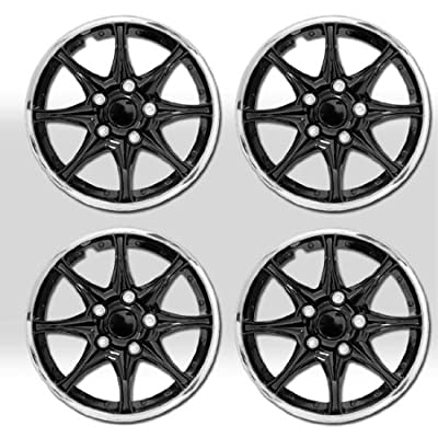 New 16 inch Black Hubcaps Wheel Covers Full Lug Skin Hub Cap Set with Travel Size Purple Slice 522