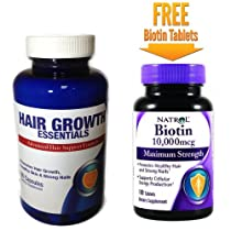 Hair Growth Essentials + FREE Maximum Strength Biotin Tablets