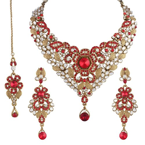 I Jewels Traditional Gold Plated Kundan Necklace Set With Maang Tikka For Women(K7014R)