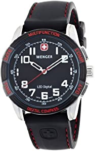 Wenger Men's 70430 Nomad Compass Red LED Black Silicone Strap Watch