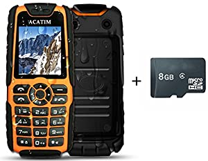 Acatim Unlocked Military Version IP67 Unblocked Waterproof Dustproof Shockproof Cell Phones with 8GB TF Card ,Dual Sim Cards , Standby 60days with LED Flashlight & 5000mAh Power Bank Function(Orange)
