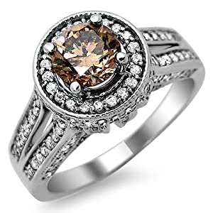 1.35ct Brown Round Diamond Engagement Ring 14k White Gold
