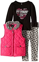 Calvin Klein Baby Girls\' Pink Quilted Vest with Tee and Pants, Pink, 12 Months