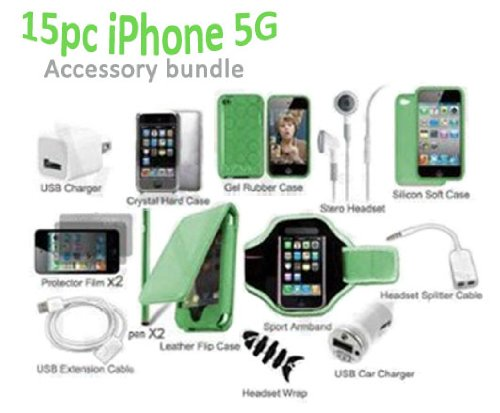 15 in 1 Classic Accessory Bundle Kit for New iPhone 5S And 5G 5th Gen Green