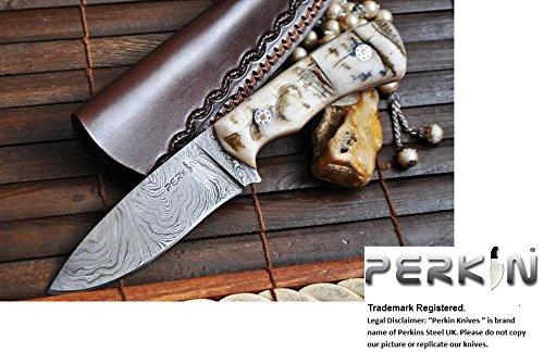 Custom Handmade Damascus Hunting Knife - Ram's Horn Handle- Beautiful Camping Knife - Amazing Value