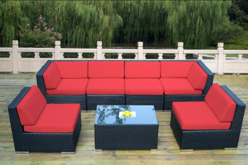 ohana collection PN0703red Genuine Ohana Outdoor Patio Wicker Furniture 7-Piece All Weather Gorgeous Couch Set with Free Patio Cover picture