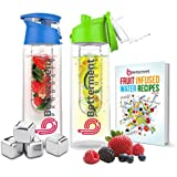 Betterment Products BPA Free Eastman Tritan Plastic Premium Sports Water Bottle With Fruit Infuser. In A Bundle...