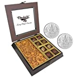 Chocholik Premium Gifts - Unique Combination Of Chocolates & Almonds With 5gm X 2 Pure Silver Coins - Diwali Gifts