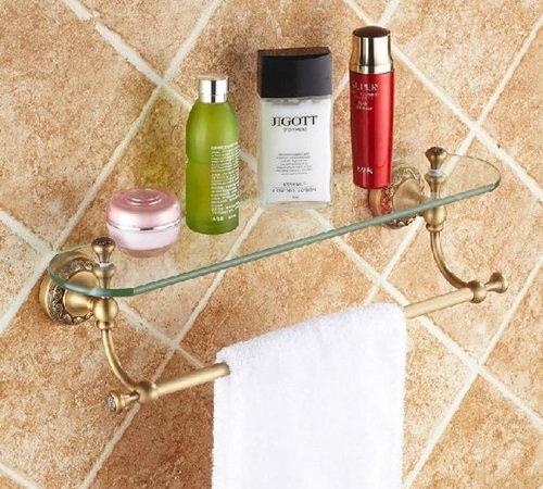 AST singolo-Mensola in vetro per bagno, in ottone, colore: bronzo anticato # ast09