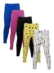 Little Stars Girls' Cotton Regular Fit Leggings- Pack of 5 (Po5L_105_24, Multi-Colour, 3-4 Years)
