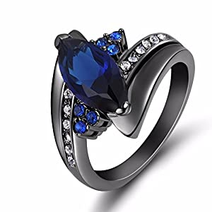 Rainy Jewel Jewelry Size67 8 9 Blue sapphire ring 10KT Black Rhodium plated Rings for women's Gift R012 9.0 by Rainy Jewel