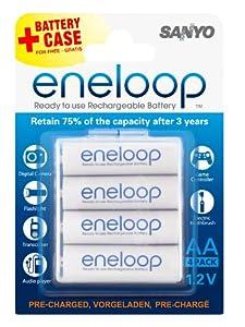 Sanyo eneloop Batterien AA Mignon 16er Pack - Neue Version HR-3UTGA mit bis zu 1500 Ladezyklen + 4 Weiss - More Power + Transportschutzboxen