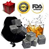 Best Whiskey Stones Gift Set - Soapstone Whiskey Rocks and a Velvet Bag to Cool Drinks - 9 Grey Cubes - Stylish Gift Box with Self-Closing Magnet - Does Your Dad, Husband.. Love Scotch?