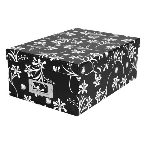 Photo Box in Black with White Floral Pattern by Pioneer Photo Albums