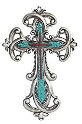 16 Inch Decorative Wall Hanging Cross Statue Figurine, Turquoise by GSC