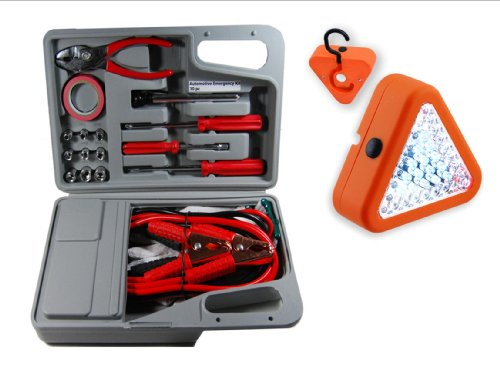 30Pc Emergency Automotive Kit In Hard Plastic Carrying Case W 39 Led Emergency Safety Flasher