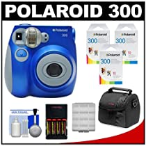 Polaroid PIC-300L Instant Film Analog Camera (Blue) with (3) Polaroid Instant Film Pack of 10 + (4) AA Batteries & Charger + Case + Kit