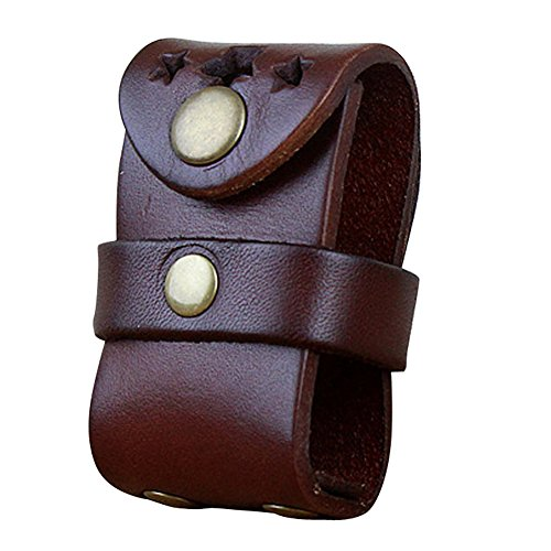 Boshiho Mens Genuine Leather Fliptop Light Pouch Holder with Belt Loop (Chestnut) (Tobacco Can Belt Holder compare prices)