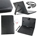 DURAGADGET Black Faux Leather QWERTY Keyboard Case with Bluetooth Connection For the NEW BQ Aquaris M10 Ubuntu Edition Tablet - Plus BONUS Micro USB Charger Cable