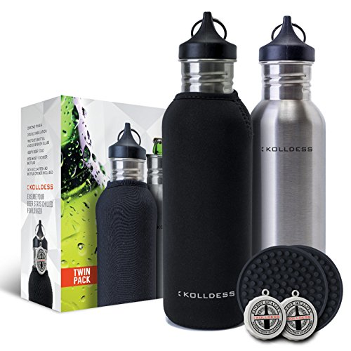 Kolldess Chrome Beer Bottle Cooler TWIN-PACK BUNDLE + Two Insulated Beer Bottle Koozies + Two Insulated Carry Cases + Two Large Coasters + Two Bottle Openers (Fosters Beer Koozie compare prices)