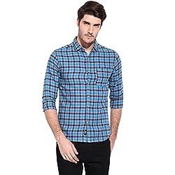 Hueman Blue Full Sleeve Cotton Checked Shirt