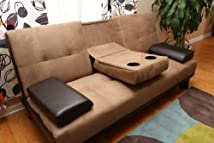 Brown Microfiber/Vinyl Leather Finish Sofa Bed by Coaster by Home Life s257