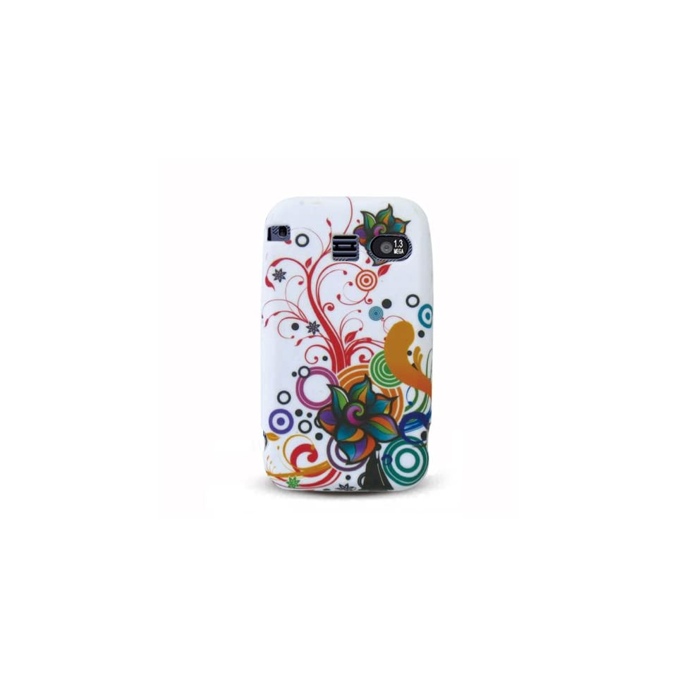 Green Black Pink Multi Rainbow Flower Soft Silicone Skin Gel Cover Case for Sanyo Scp 2700 Juno + in Blister Retail Package