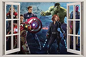 The avengers age of ultron 3d window view for Avengers wall mural amazon