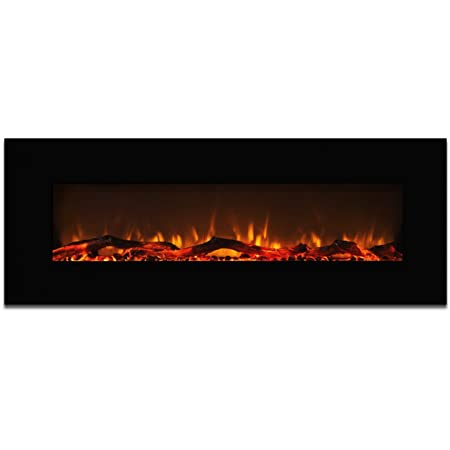 "Elite Flame Ashford 50"" Electric Wall Mounted Fireplace Black"