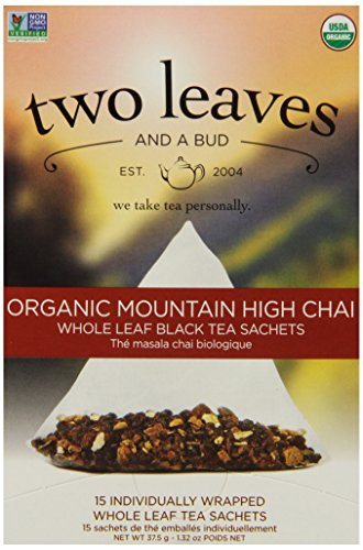 Two Leaves Tea Company Organic Mountain High Chai Black Tea, 15-Count Boxes (Pack Of 6)