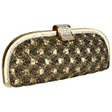 Glamorous Vintage Lace Sprinkle Rhinestones Closure Half Moon Hard Case Evening Baguette Clutch Purse w/Detachable Shoulder Chain