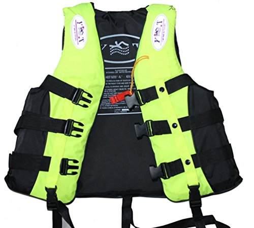 ライフジャケット 救命胴衣 笛付 蛍光色 黄色 フローティングベスト 大人用 L XL XXL XXXL ジェットスキー ボート ウォーターサーフィン セーリング ウィンドサーフィン 釣り 海や他の水のレクリエーションに (XXXL:体重85kg~100kg)