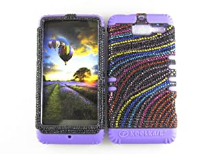 For Motorola Droid Razr M Xt907 Multicolored Waves Heavy Duty Case + Light Purple Rubber Skin Accessories