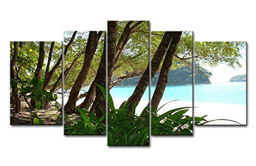 Blue 5 Piece Wall Art Painting Quepos A Small Bay There Have Many Trees On Coast Pictures Prints On Canvas Seascape The Picture Decor Oil For Home Modern Decoration Print For Girls Bedroom
