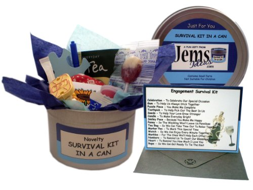 Engagement Survival Kit In A Can. Humorous Novelty Fun Gift - Engagement Gifts For Him/Gifts For Men. All In One Present & Card For A Boyfriend, Fiance, Friend, Husband, Partner. Customise Your Can Colour.
