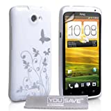HTC One X Case White / Silver Butterfly IMD Hard Hybrid Back Case Cover With Screen Protector Film And Grey Micro-Fibre Polishing Clothby Yousave