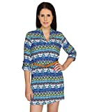 Bedazzle Blue Geometric Printed Dress