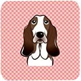 "Caroline's Treasures BB1243FC Checkerboard Pink Basset Hound Foam Coaster (Set Of 4), 3.5"" H X 3.5"" W, Multicolor"