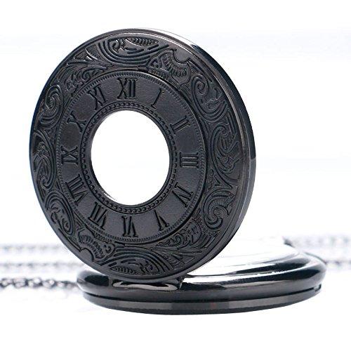 HJIAN Pocket Watch Black Roman Retro Vintage Quartz Pocket Watch Roman Numerals Steampunk Fob Watch 2