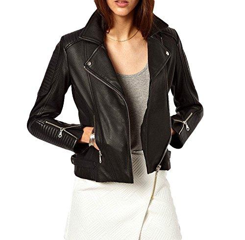 Exemplar Women's Genuine Lambskin Leather Moto Jacket Black LL871 S